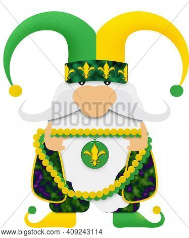 Mardi Gras Gnome in Jester Hat with Beads with Clipping Path Illustration Isolated on White.