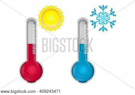 Hot And Cold Thermometers Isolated On White Background. Low And High Temperature Sign. Thermometer M