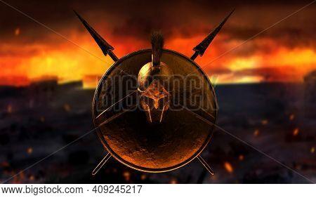 3d Render Illustration Of Spartan Armored Helmet, Shield And Spears On Burning Battlefield Backgroun
