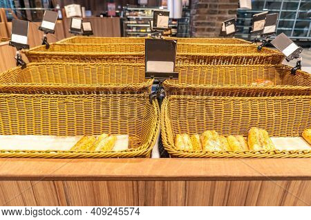 Display Of A Bakery There Is A Wide Variety Of Baked Goods To Offer. Variety Of Baked Products At A