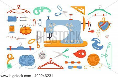 Sewing Cartoon Set Thread Scissors Bar Pin Vector