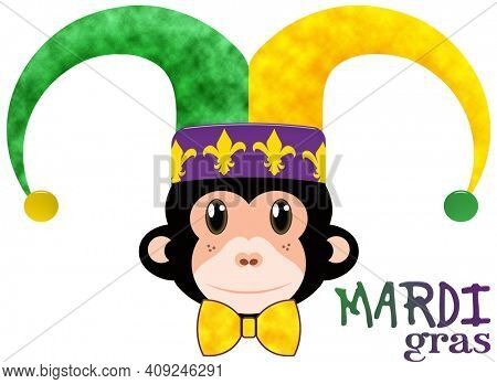 Mardi Gras Monkey in Jester Hat with Clipping Path Illustration Isolated on White Background