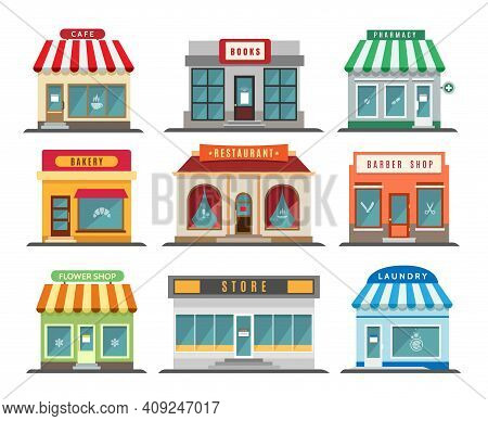 Shops Stores Exteriors. Laundry And Restaurant, Pharmacy And Bistro Cafe, Store And Shop Retail Stre