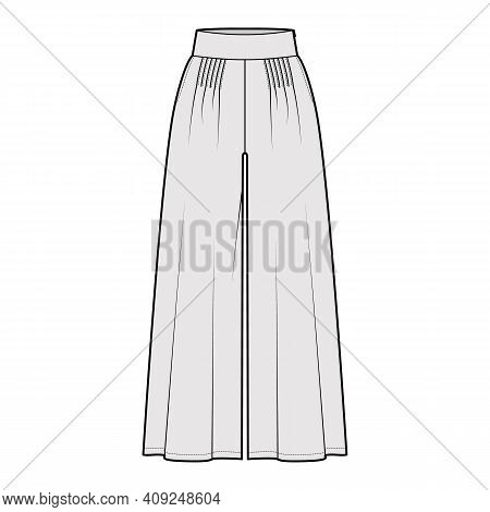 Pants Gaucho Technical Fashion Illustration With Low Waist, Rise, Pleated, Ankle Cropped Length, Sea