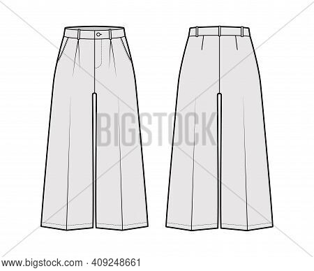 Pants Capri Technical Fashion Illustration With Low Waist, Rise, Single Pleat, Mid-calf Length, Wide