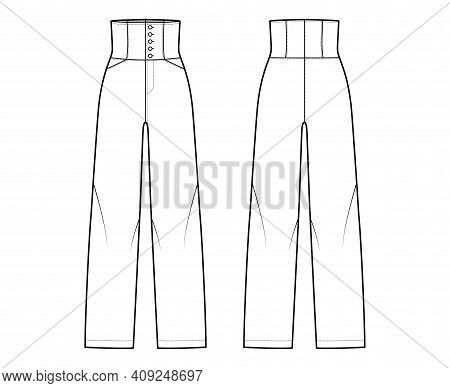 Pants High-waisted Technical Fashion Illustration With Full Length, Pockets, Bottom Closure, Round P