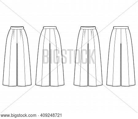 Set Of Pants Gaucho Technical Fashion Illustration With Low Normal Waist, High Rise, Single Pleat, A