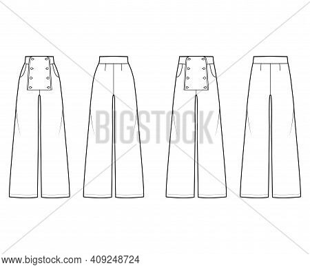 Set Of Pants Sailor Technical Fashion Illustration With Low Normal Low Waist, High Rise, Full Length