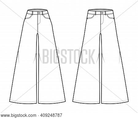 Set Of Jeans Baggy Wide Pants Denim Technical Fashion Illustration With Full Length, Low Normal Wais