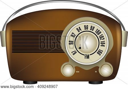 Old Style Portable Radio Receiver With Dial Setting. Vector Illustration.
