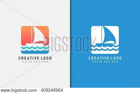 Creative Sailboat Logo Design. Abstract Sailboat Shape And Sea Wave Combination. Usable For Brand Co