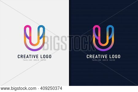Abstract Initial Letter U Logo Design. Creative Colorful Letter U, Usable For Brand And Company. Vec