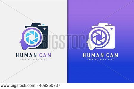 Creative Human Cam Logo Design. Abstract People Face And Camera Sign Logo Design. Vector Logo Illust