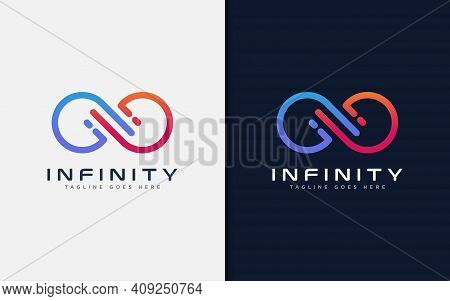 Modern Infinity Sign Logo Design. Abstract Infinity Symbol Made From Colorful Geometric Lines. Usabl