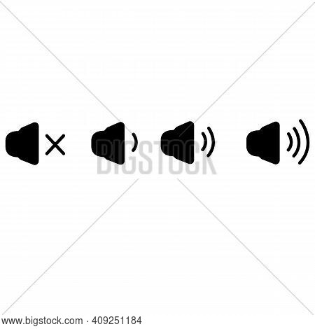 Set Of Sound Icons On White Background. Speaker Volume Icons With Sound Waves Sign. Icon That Increa