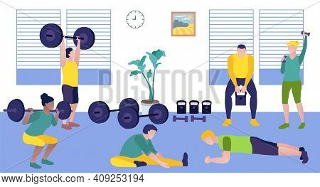 People Exercising In The Gym. Athletic Men And Women Exercising With Sports Equipment And Doing Fitn