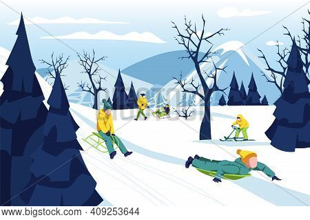 Boy Riding His Sleigh On Hill. Kid Wearing Warm Winter Clothing Sledding Down Snowy Hill. Child Havi