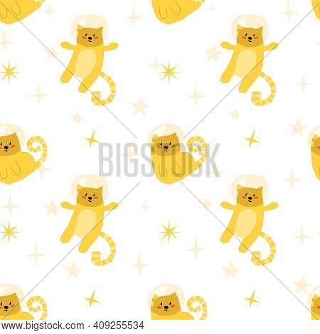 Space Kids Seamless Pattern, Celestial Cartoon Digital Paper With Space Cat And Stars, Nursery Seaml