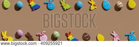 Easter Banner. Holiday Frame. Festive Design. Invitation Card. Bright Gingerbread Biscuit Lgbtqia Ra