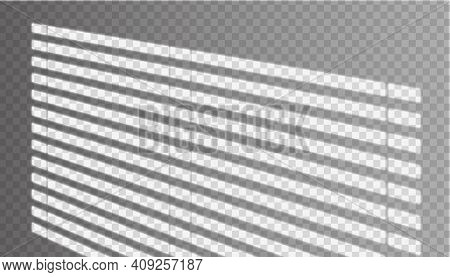 Vector Realistic Window Shadow With Jalousie On The Wall In Transparent Background.