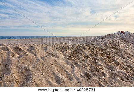 A New Jersey shore beach area Point Pleasant one month after Hurricane Sandy. poster
