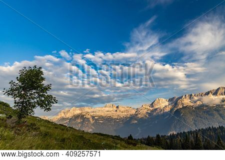 Dolomites on Italian and Slovenian border around  mountain Monte Ursic with 2541 m in Julian Alps