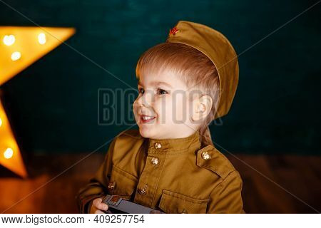 Boy Playing Soldier. Army Thee Kid. Little Patriot. Young Soldier. Portrait Of Happy Young Boy In Ca
