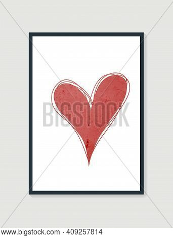 Trendy Abstract Heart Hand Drawn Composition. Valentines Day Posters. Shape Design For Wall Framed P