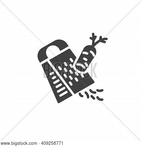 Grated Carrot Vector Icon. Cooking Instruction Filled Flat Sign For Mobile Concept And Web Design. C