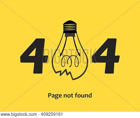 404 Error Page Not Found. Template For Website, Broken Light Bulb