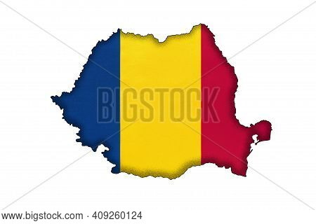 Romania Border Silhouette With National Flag Isolated On White Background With Copy Space. Contour O