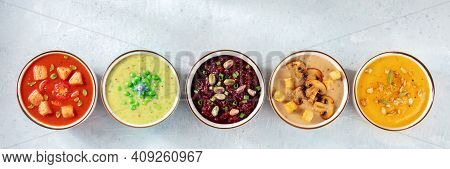 Vegan Soup Panorama With Copy Space. An Assortment Of Vegetable Cream Soups