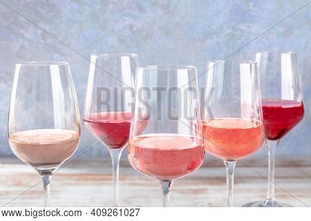 Rose Wine, Various Shades, A Side View With Copy Space