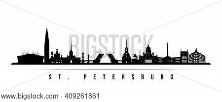 St. Petersburg Skyline Horizontal Banner. Black And White Silhouette Of St. Petersburg, Russia. Vect