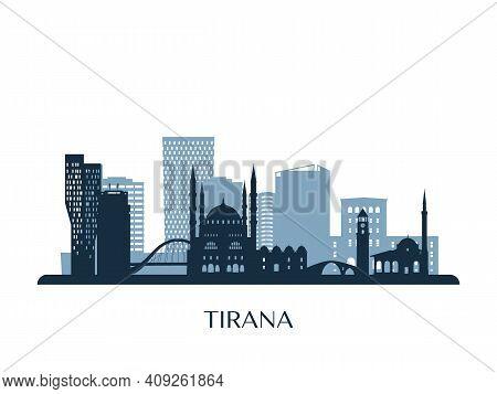 Tirana Skyline, Monochrome Silhouette. Design Vector Illustration.