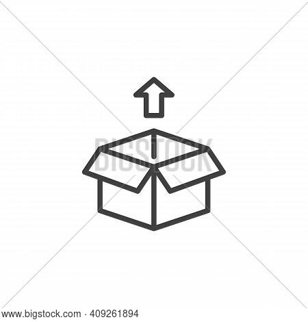 Cargo Box Package Line Icon. Linear Style Sign For Mobile Concept And Web Design. Box Out Arrow Outl