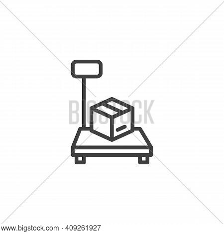 Parcel Weighing Line Icon. Linear Style Sign For Mobile Concept And Web Design. Cargo Scales With Bo