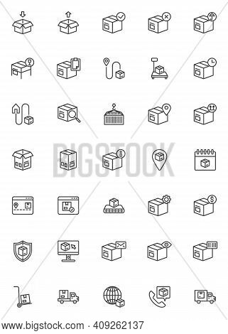 Delivery, Logistics Line Icons Set. Cargo Shipping Linear Style Symbols Collection, Outline Signs Pa