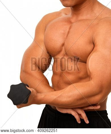 Body of muscular man, chest and abdominal muscle.