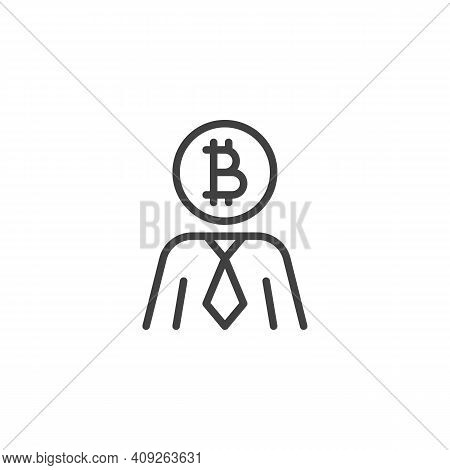 Bitcoin Investor Line Icon. Linear Style Sign For Mobile Concept And Web Design. Cryptocurrency Inve