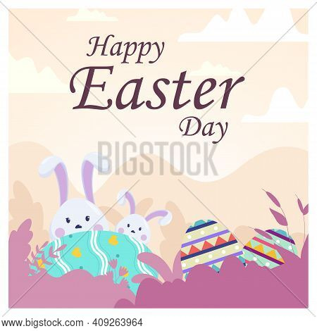 Vector Happy Easter Illustration With Funny Bunny. Spring Nature, Flowers, Ornate Easter Egg. Banner