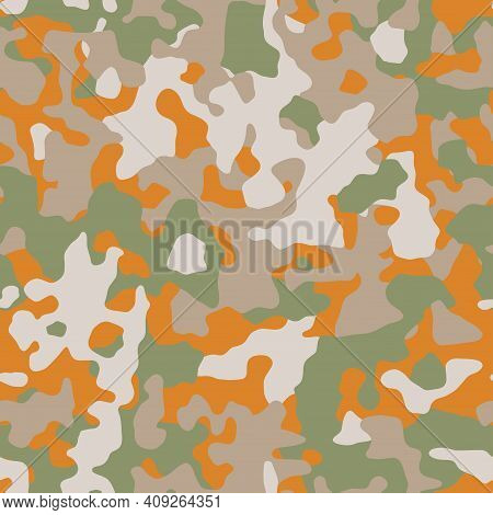 Camouflage. Modern Urban Camo Print For Fabric. Green Brown And Orange  Autumn Camo Pattern, Abstrac