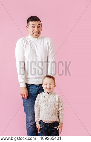 Father And Son Stand Stiff And Tight, They Have Misbehaved And Awaiting Reaction