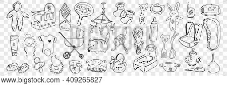 Infant Baby Accessories And Toys Doodle Set. Collection Of Hand Drawn Bed, Toy, Jumpsuit, Stroller,