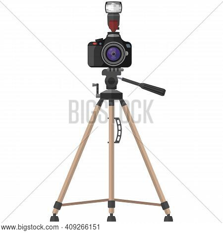Camera With Zoom Lens And Flesh On Tripod Vector