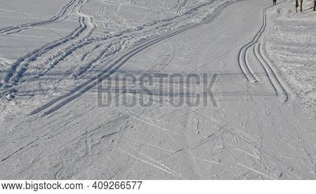 Start Of The Cross Country Skiing Route. The Tracks Are Prepared By A Snowmobile With Special Attach