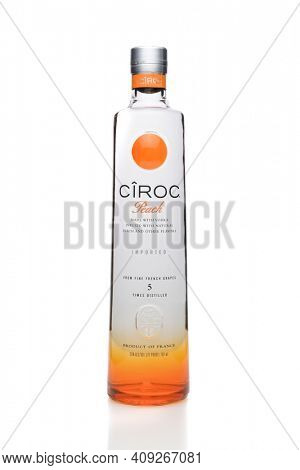 IRVINE, CA - SEPTEMBER 08, 2014: A bottle of Ciroc Peach Vodka. An ultra-premium vodka distilled from grapes grown in the Cognac region of France infused with natural flavors.