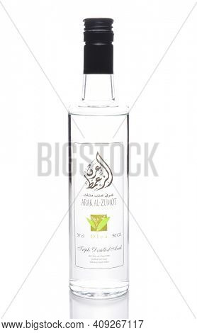 IRVINE, CALIFORNIA - JULY 10, 2017: a Bottle of Arak Al-Zumot. Arak (Arabic) is a levantine alcoholic spirit, a clear, colorless, unsweetened anise-flavored distilled alcoholic drink.