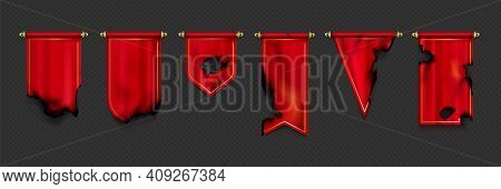 Red Pennant Flags Different Shapes With Burnt Edges And Holes After Fire Or War. Vector Realistic Te