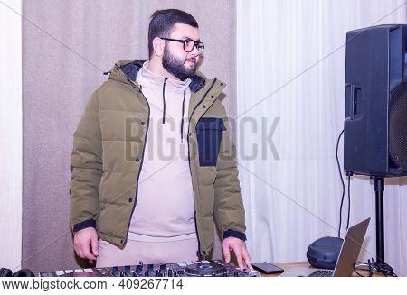 Dj At Work, Dj With Headphones, Dj Mixing Music
